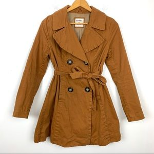 Old Navy Trench Coat Sz XS Brown Lined Long Sleeve